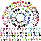 surgical Oasis Plus Wholesale Lot 100pcs 14G Belly Button Rings Navel Barbell Acrylic Balls 316L Surgical Stainless