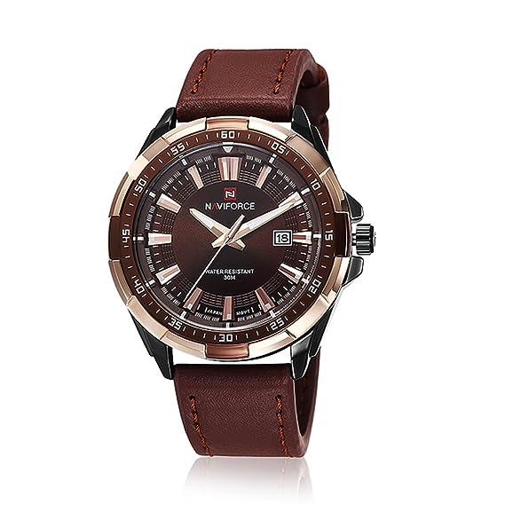 Correa de cuero neotrix NAVIFORCE Militar analógico reloj para hombre, 30M impermeable del reloj del deporte - Marrón: Amazon.es: Relojes