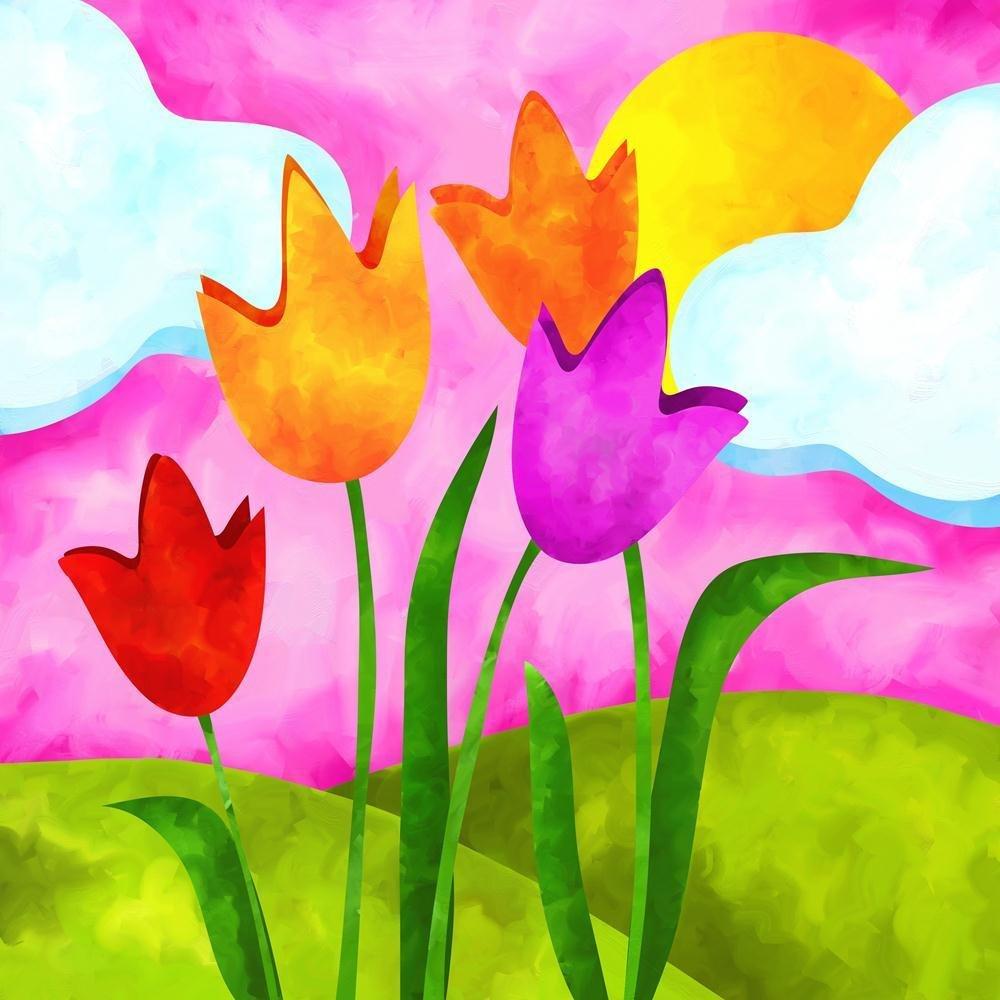 Pitaara Box Tulips 40 & Sun Unframed Canvas Painting 40 Tulips x 40inch e46c91