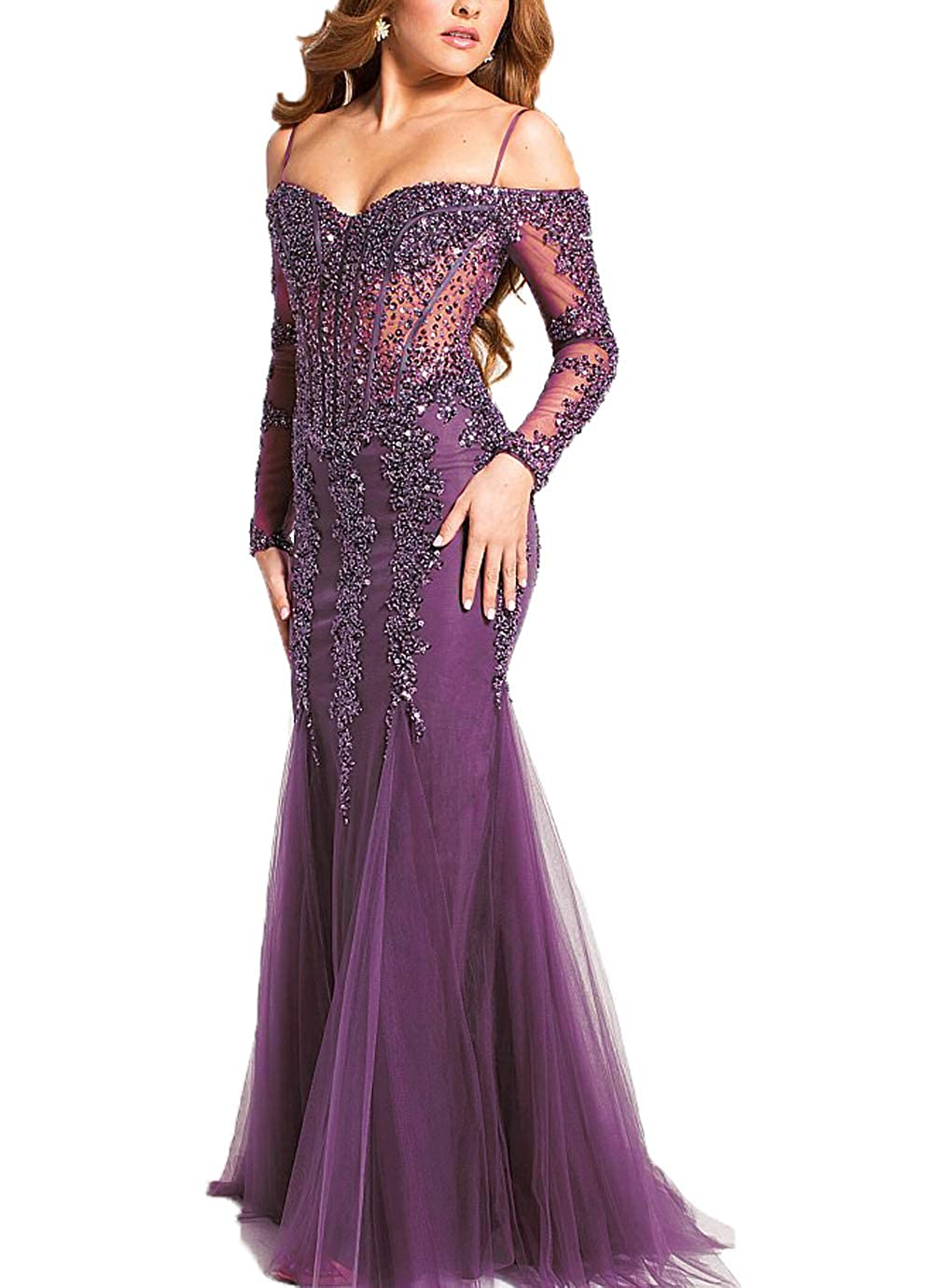 Purple Yisha Bello Women's Off The Shoulder Crystal Beaded Mermaid Pro Dress Long Tulle Formal Evening Party Gowns