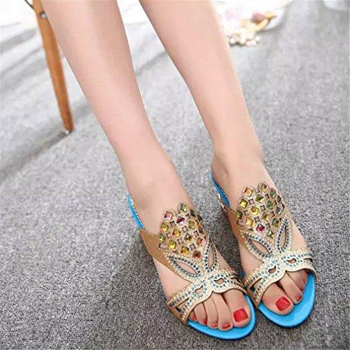Blue D'été Mode Pantoufles Femmes Slip Chaussures Lumino Chaussures Femme Sur Tongs Femmes Chaussures Sky Sandales Strass 40ZRwTq