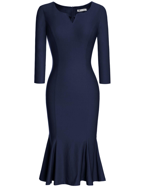 MUXXN Women's 1960s 3/4 Sleeve Knee Length Cocktail Party Mermaid Dress MX-CA-5109-Blue-M