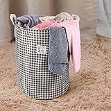 MEÉLIFE 17.8'' Drawstring Waterproof Coating Ramie Cotton Fabric Folding Laundry Hamper Bucket Cylindric Burlap Canvas Laundry Basket