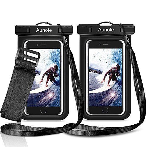 Waterproof Phone Case Aunote Universal Dry Bag Pouch With Lanyard Armband Men/Women Best carrying case For Apple iPhone 7 6 6s Plus 5s 5c Samsung Galaxy S8 S8 Plus S7 S6 Any Cell Phone Holder (2 Pack)