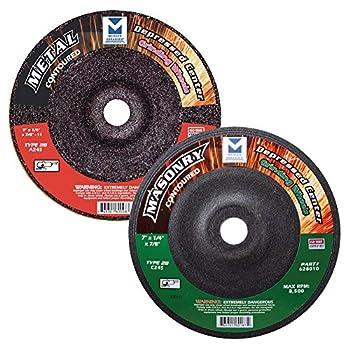 Image of Cut-Off Wheels Mercer Industries 625010 Type 28 Contoured Grinding Wheel for Metal, 7'' x 1/4'' x 7/8'' (20 pack)