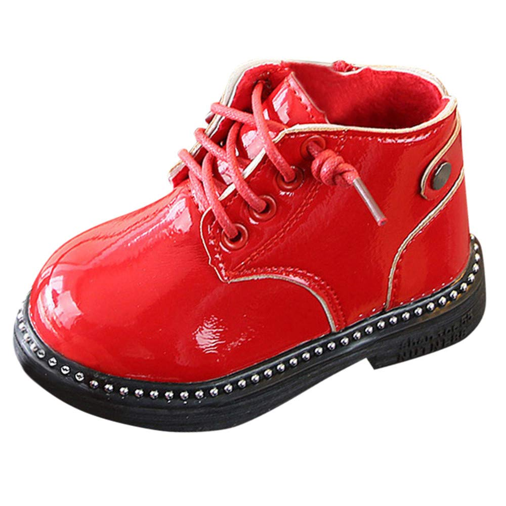 Botas Militares de Nieve Bajos para Bebé s Niñ os Niñ as Pelo Invierno PAOLIAN Zapatos Piel de Cordones Niñ os Primeros Pasos Recié n Nacido Ademá s Lana Calientes Calzado Talla 24-26