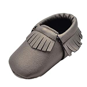 Sagton Baby Girl Bowknot Tassels Shoes Toddler Soft Sole Sneakers Crib Shoes (US:2.5)