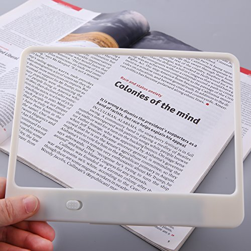 Handheld Reading Magnifier with Light Large Rectangular Full Page 3X Magnifying Glass for Reading Small Prints & Low Vision, White