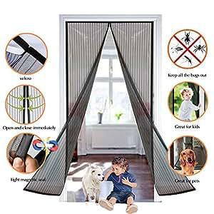Pomisty Pantalla Magnética de la Puerta, Protección del Insecto, No Más Mosquitos, Más Aire Fresco, Respirable y Suave - Negro