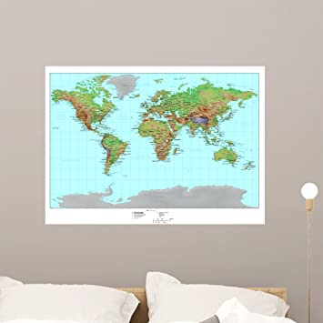 Amazon wallmonkeys topographical world map wall mural peel and wallmonkeys topographical world map wall mural peel and stick graphic 36 in w x 26 gumiabroncs Images