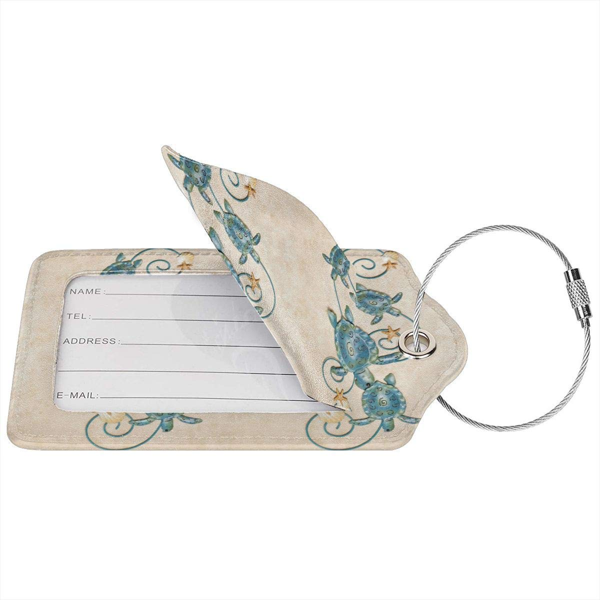 Sea Turtle Metal Wall Art Leather Luggage Tags Personalized Travel Accessories With Adjustable Strap