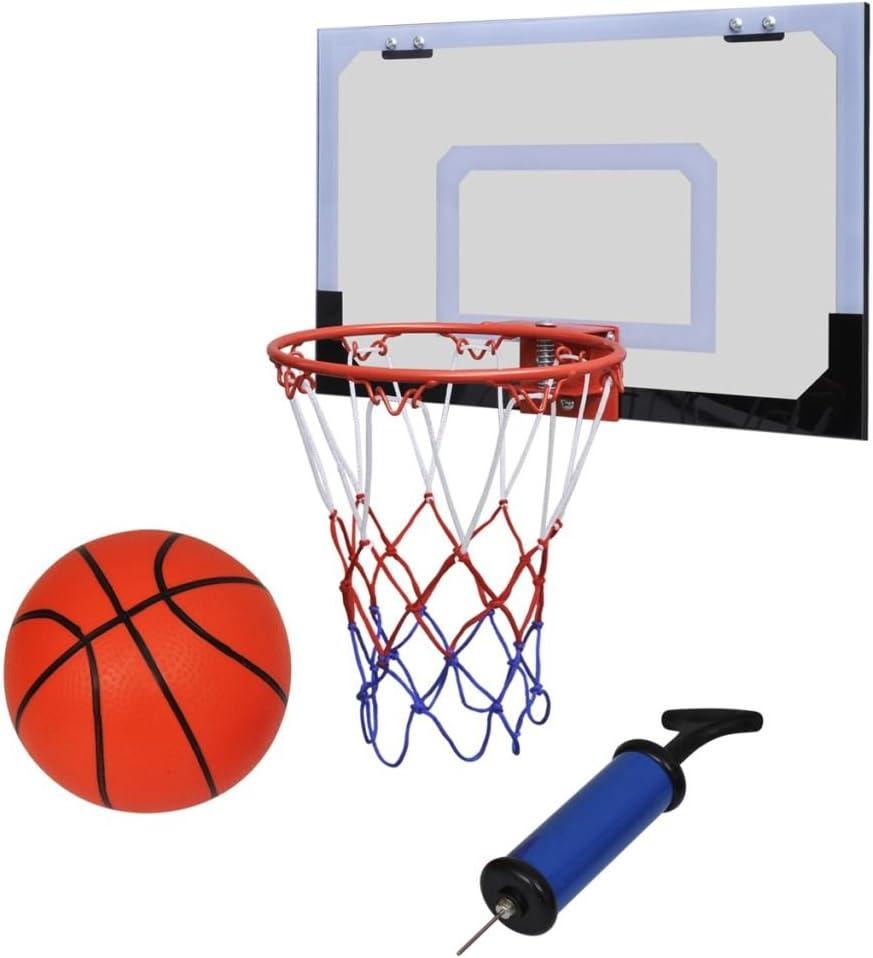 vidaXL Aro de baloncesto con red y tablero, pelota pompa, naranja ...
