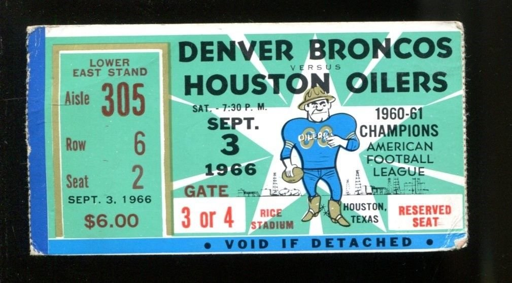 51ed60ffb73 1966 Denver Broncos v Houston Oilers Ticket AFL 9/3/66 Blanda 3 TDs 31641  at Amazon's Sports Collectibles Store