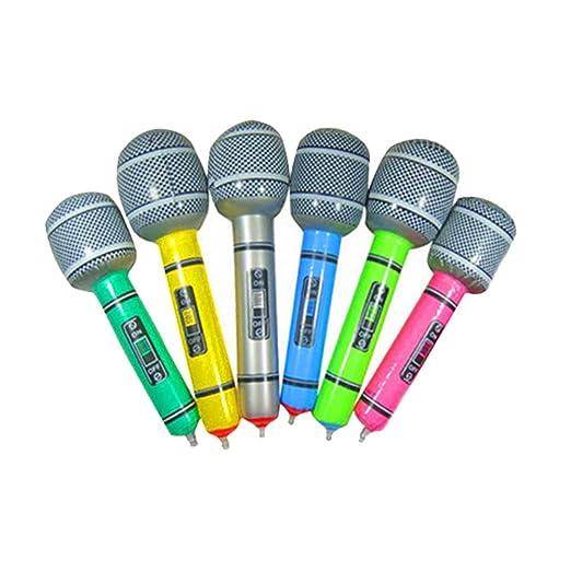 lzndeal - Set de 6 micrófonos hinchables de juguete para ...