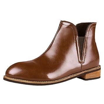 52b474fec86b3 ZHRUI Liquidación Moda para Mujer Cremallera Martin Botas Botines de Cuero  Scrub Block Heel Shoes (Color   2-Brown