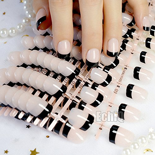 Amazon.com : CoolNail Wholesale 10 sets Natural French False Nails Nude Black Short Fake Nail Full Cover Shiny UV Manicure Nails for Home Office : Beauty