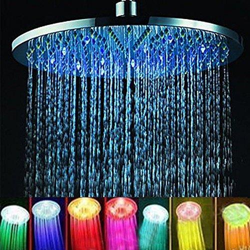 Topincn Color Changing Shower Head  8 Inches Bathroom Led Light Rain Top Showerhead