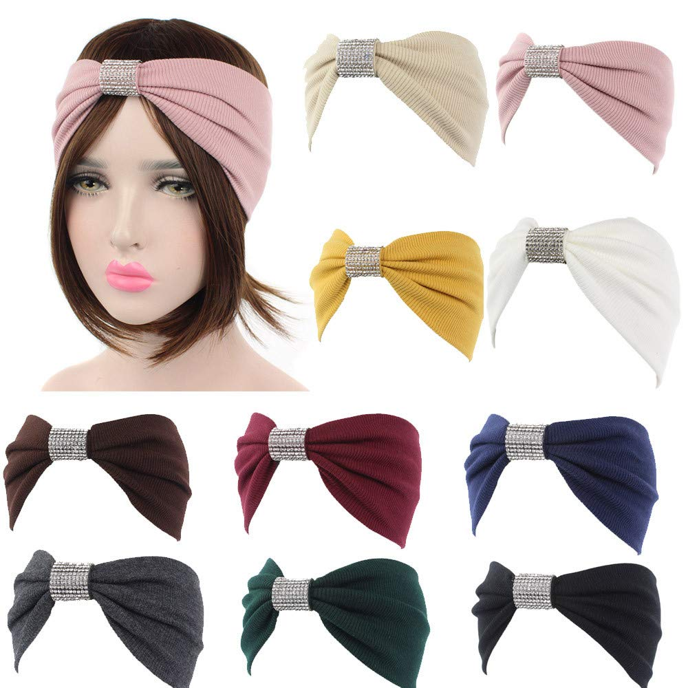Amazon.com : Yoga Elastic Turban Women Retro Knit Cotton Sweatband Headband Sports Sliver Diamond Hair Band Sunmoot : Beauty