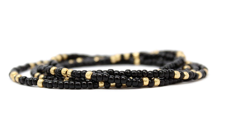 Chatham Choker  Seed Bead Necklace  Handmade  Black  Gold
