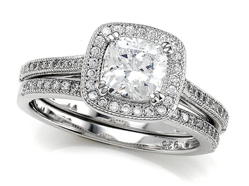 Zoe R Micro Pave Hand Set Cubic Zirconia Halo 6mm Cushion Cut Center Wedding Set Size 8.5