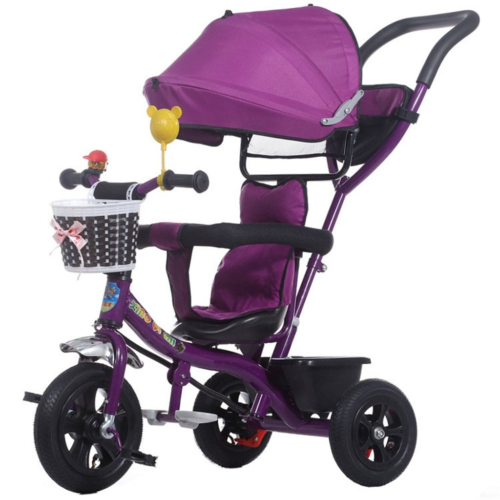 KANGR-子ども用自転車 多機能4-in-1折りたたみ式子供用三輪車キッドトロリープッシュハンドルステーラー自転車、アンチUV日よけ| 1-3-6歳の少年少女と赤ちゃんのおもちゃ|ブレーキ付き|インフレータブル(または非)ソリッドゴム3ホイール|紫の ( 色 : B型 bがた ) B07BTWLLCQ B型 bがた B型 bがた