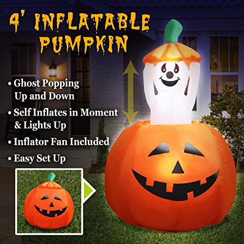 BenefitUSA ZH0090 4ft Halloween Pumpkin Decoration, -