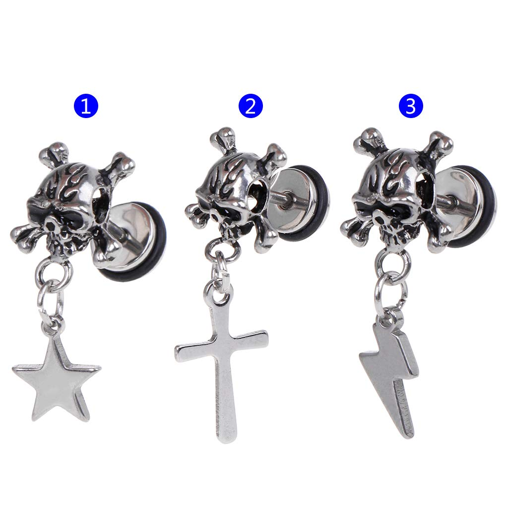 mgjyjy Fashion Earrings, 1pc Punk Earrings Skull Head Fashion Star Lightning Cross Pendant Women Men Jewelry Charms Brincos Dangle Chain Titanium Steel Ear Stud Decoration Hip Hop Gifts for Women by mgjyjy (Image #4)