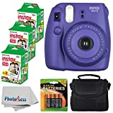 Fujifilm Instax Mini 8 Instant Film Camera (Grape) With Fujifilm Instax Mini 6 Pack Instant Film (60 Shots) + Compact Bag Case + Batteries Top Kit - International Version (No Warranty)