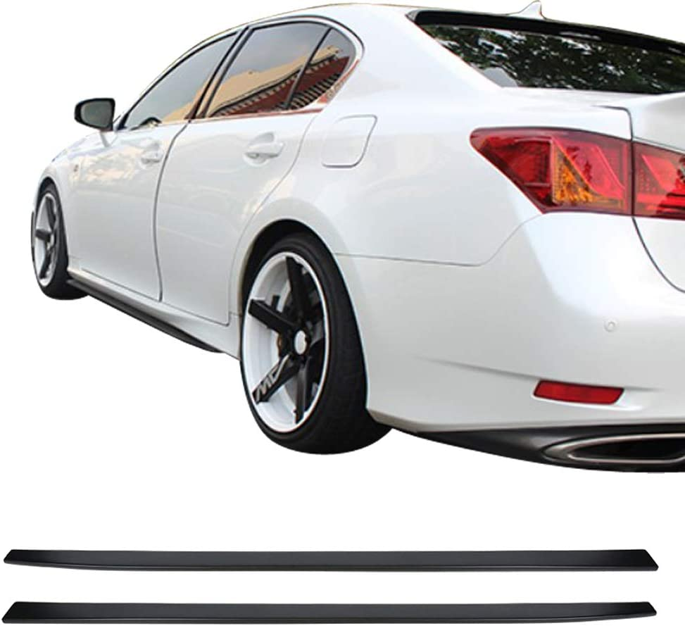 Side Skirts Compatible With 2016-2019 Lexus GS GS F Sports PP Polypropylene Matte Black Side Skirts Extension Bodykits Pair By IKON MOTORSPORTS
