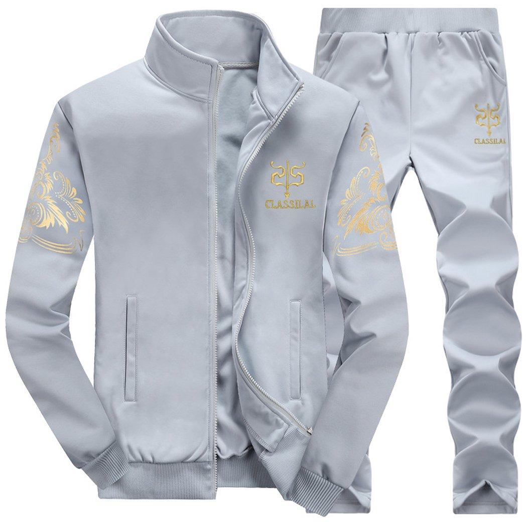 Silver_river Hombres Cremallera Chaqueta Pantalones Dos Piezas Bordado Casual Conjuntos Deportivos Invierno Manga Larga Chandal