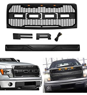 TIKSCIENCE Fit 2009-2014 Ford F-150 F150 Grille Matte BLACK Raptor Style Conversion Grill w//F/&R