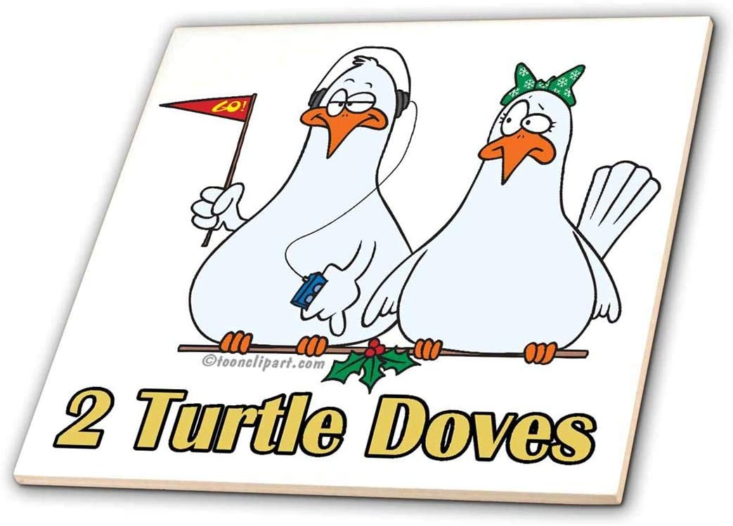 3dRose ct_104439_2 Two Turtle Doves-Ceramic Tile, 6-Inch