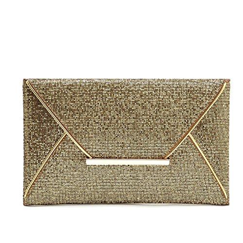 URAQT Frauen Blättern Abend Party Geldbörse Umschlag Kupplung Handtasche Mode Lady Tasche, gold (Gold) Gold
