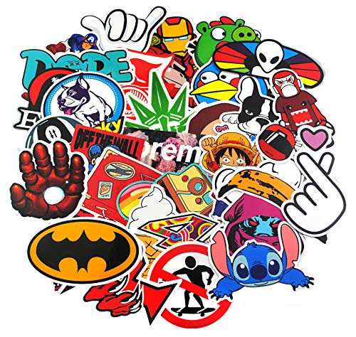 KONLOY Sticker Pack 100-Pcs Sticker Decals Vinyls for Laptop,Kids,Cars,Motorcycle,Bicycle,Skateboard Luggage,Bumper Stickers Hippie Decals bomb Waterproof (100Pcs) ()