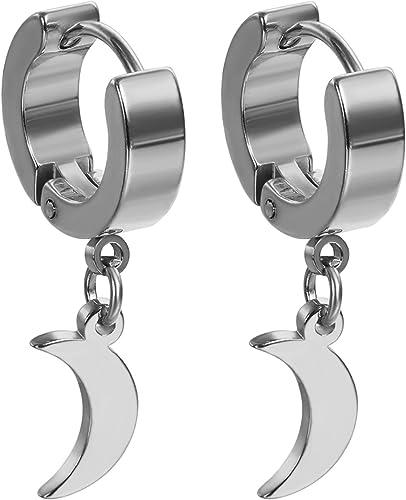 FOCALOOK Pendientes de aro con bisagras de acero inoxidable para hombres plata//oro//negro mujeres y ni/ños