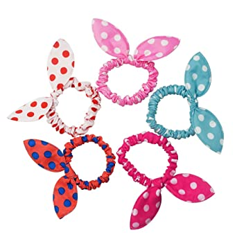 Amazon.com   Bunny Ears Hair Bands Elastics Hair Ties Ponytail Holders  Polka Dot Hair Tie Bands Ropes   Beauty 586e9207f5d