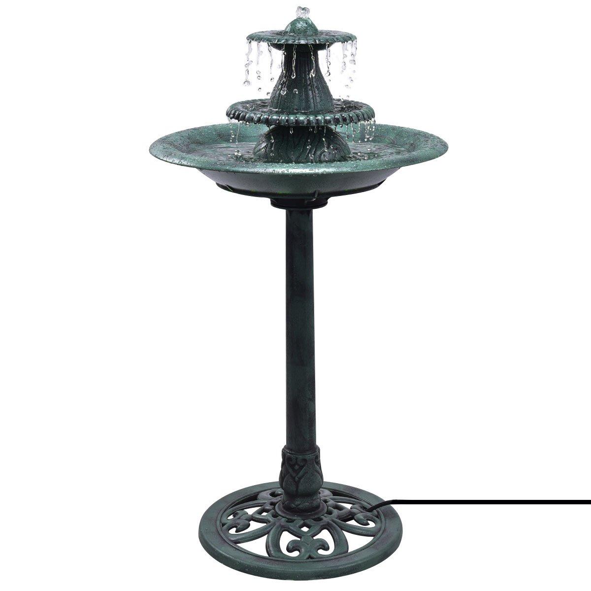 Giantex 3 Tier Fountain Garden Outdoor Decor Pedestal Bird Bath Water Fountain W/Pump by Giantex