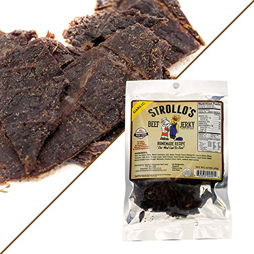 Best Beef Jerky by Strollo's Garlic Flavor Paleo & Atkins Diet Friendly 100% Natural Beef Low Sodium & Sugar high Blood Pressure & Diabetes Friendly No Artificial Ingredients No Preservatives