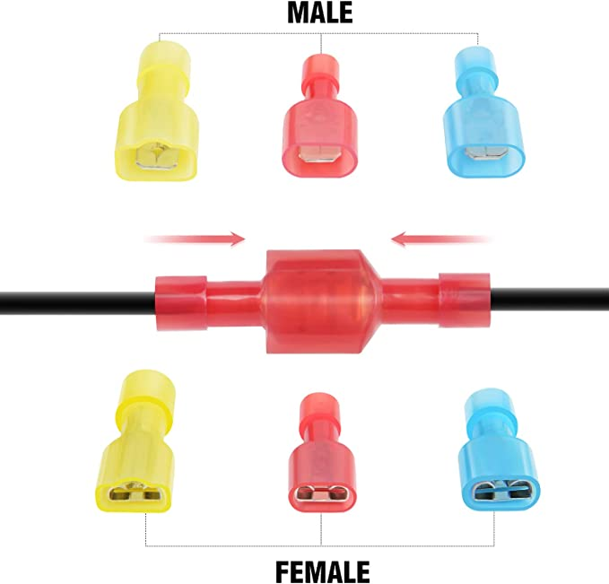 Nilight 50022R 160pcs Nylon Fully Insulated Male//Female Spade Crimp Quick Disconnects Wire Terminals Connector Set,2 Years Warranty