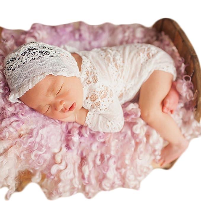 766cbedc40d Amazon.com  Baby Photography Props Lace Hats Rompers Newborn Photo ...