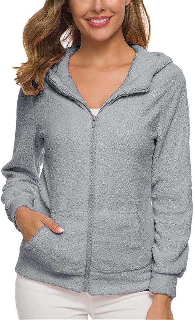 Discount Boutique Sudadera Casual con Cremallera Suelta para Mujer suéter de Felpa con Capucha Chaqueta con Bolsillo de Bolsillo Chaqueta de otoño e Invierno para Mujer: Amazon.es: Ropa y accesorios