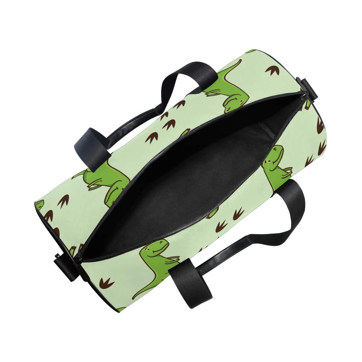 WIHVE Gym Duffel Bag Cute Cartoon Green Dinosaurs Footprints Sports Lightweight Canvas Travel Luggage Bag