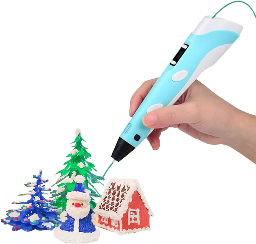 Blue Compatible with 1.75mm Material Refills PLA or ABS,Perfect Arts Crafts Gift for Kids Sofobod 3D Printing Pen,LED Display,Adapter USB Charging