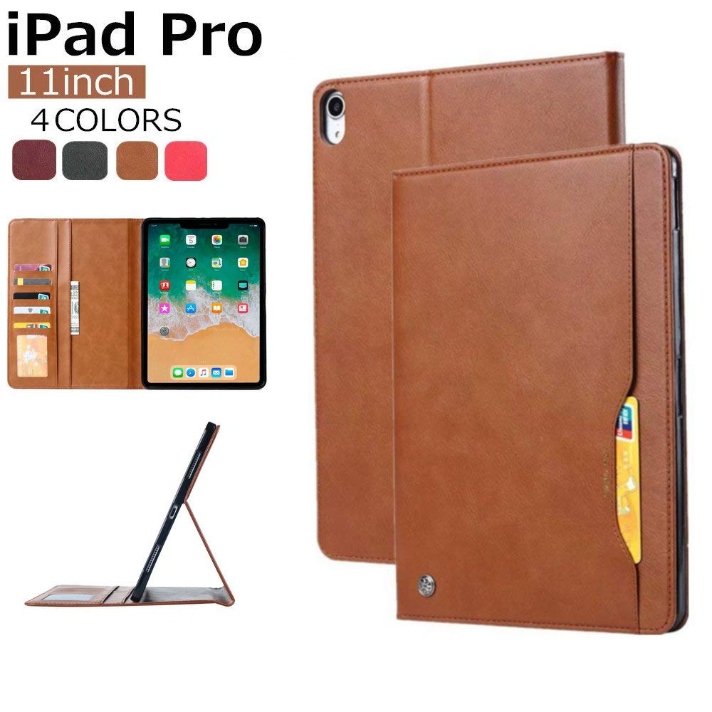 iPad Pro 11用ケース ビジネススタイル スリムレザー フリップフォリオ スマートスタンド ウォレットカバー カードホルダー付き iPad Pro 11 2018リリース用 iPad Pro 11 201812142304 iPad Pro 11 ワインレッド B07LCC1BYL