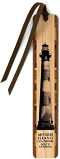 product image for Morris Island Lighthouse Handmade Wooden Bookmark with Inlays and Suede Tassel