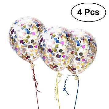 TOYMYTOY Globos gigantes de confeti vistoso Pack de 4 globos ...