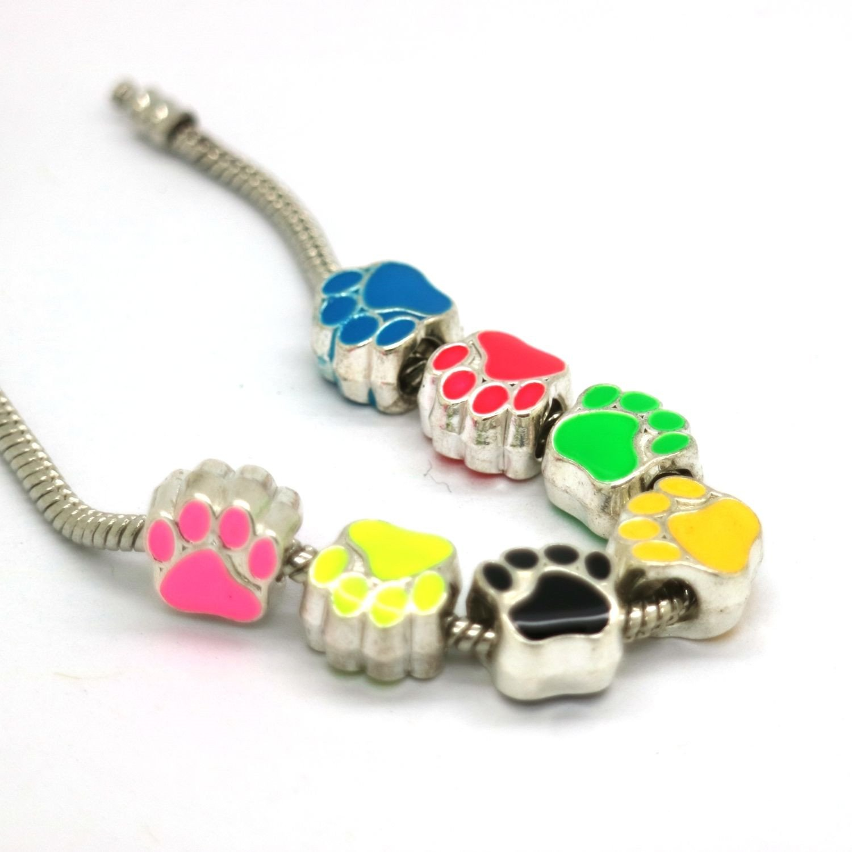 GraceAngie 40pcs Mixed Enamel Cat Dog Paw Footprint Beads Charms for European Bracelet Jewelry Making
