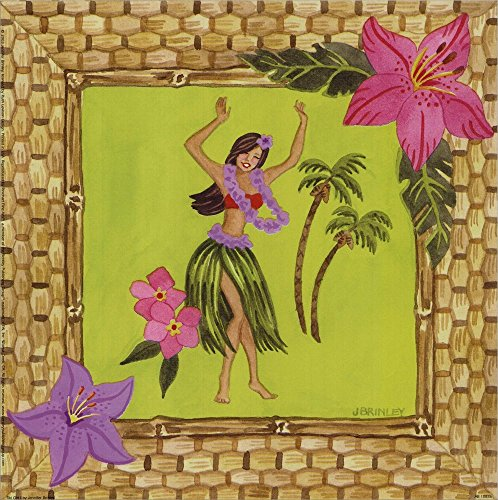 Tiki Girl I by Jennifer Brinley Laminated Art Print, 9 x 9 inches