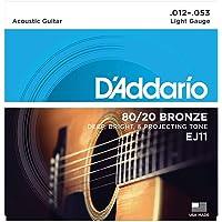 Daddario Ej11 Akustik Gitar Tel Seti, 80/20 Bronze, Light Gauge,