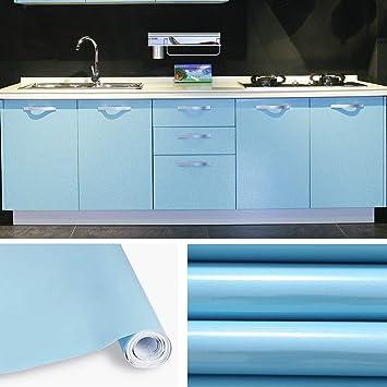 KINLO Papier Peint Auto-Adhésif 5 x 0.61M Bleu pour Armoire de Cuisine en  PVC Imperméable Style Moderne Stickers Autocollant Muraux Étanche ...